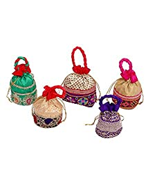 Kuber Industries Designer Potli Bag, Make up Bag, Hand Bag Set of 5 Pcs (Brocade)