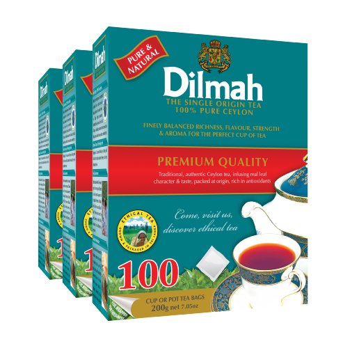 Dilmah, Premium, 100% Pure Ceylon Tea, 100-Count (Pack Of 3) (Tagless)