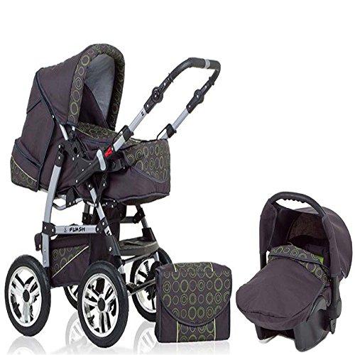 15-teiliges-Qualitts-Kinderwagenset-3-in-1-FLASH-Kinderwagen-Buggy-Autokindersitz-all-inklusive-Paket-in-Farbe-ANTHRAZITE-GRN-DEKOR