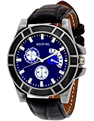 Golden Bell Original Chronograph Look Blue Dial Black Strap Wrist Watch For Men