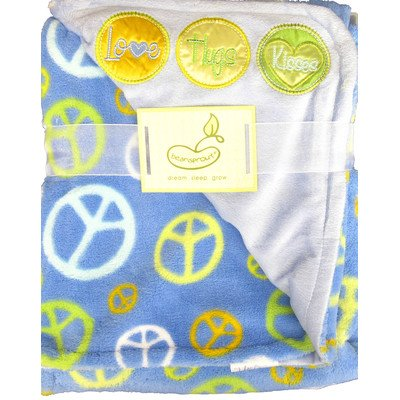 2 Ply Love Hugs Kisses with Peace Signs Crib Throw Blanket Color: Blue - 1