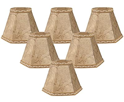 Royal Designs Faux Rawhide Hexagon Empire Chandelier Lamp Shade