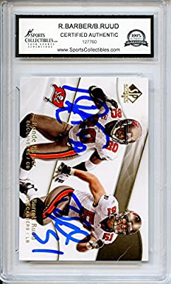 Ronde Barber/Barrett Ruud Autographed Tampa Bay Buccaneers Trading Card - Encapsulated & Certified Authentic