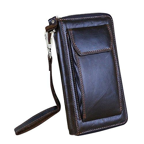 Itslife originale olio-cera da uomo in pelle, chiusura a portafoglio con cinghia da portafoglio