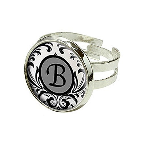 Letter B Formal Fancy - Silver Plated Adjustable Novelty Ring