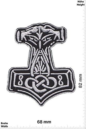 Patch - Mjölnir - Viking - Thor Hammer - Loki Odin - - Biker - Rocker - Chopper - Chaleco - toppa - applicazione - Ricamato termo-adesivo - Give Away