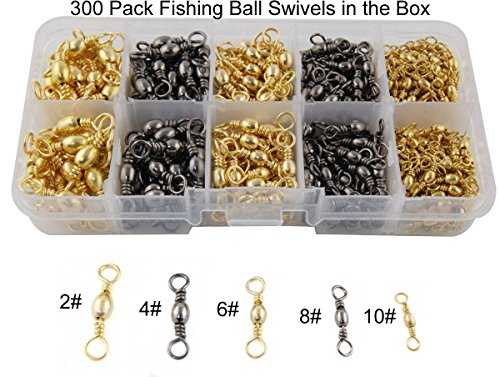 Easy Catch 300pcs/box Size 2 4 6 8 10 Extra Strong Fishing Barrel Swivel Ball Bearing Fishing Swivel Accessories Connectors(100% Copper+Stainless Steel)
