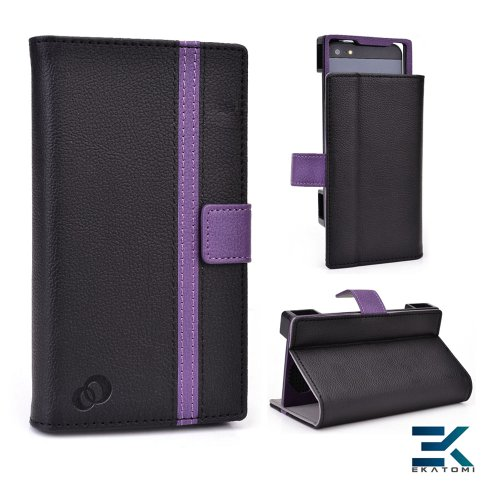 Pu Leather Universal Book Folio Phone Cover Fits Htc First Case - Black & Purple. Bonus Ekatomi Screen Cleaner
