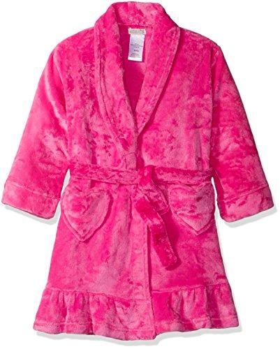 Komar Kids Big Girls' Velvet Fleece Solid Robe, Dark Pink, L