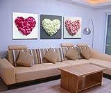 art de toile Rose, Rouge, Jaune Coeur Copie d'art sur toile moderne maison et le bureau Decoration Murale Peinture Art Non encadree non etire...