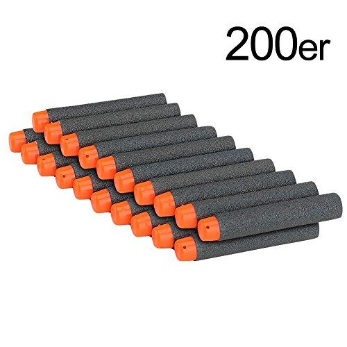 KYG 200pcs 7,2 cm Espuma Dardos para Juegos de Nerf N-strike Series Blasters Pistola de Juguete Negro