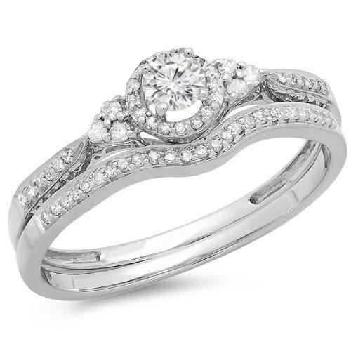 0.58 Carat Engagement Ring Sets Round Cut Diamond on 14K White gold