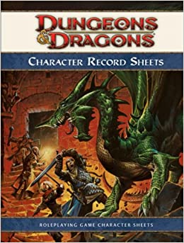 Dungeons & Dragons Character Record Sheets: Roleplaying Game Character
