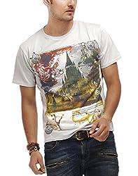 Chlorophile Men's Round Neck Cotton T-Shirt (Wc_Ash Grey_Large)
