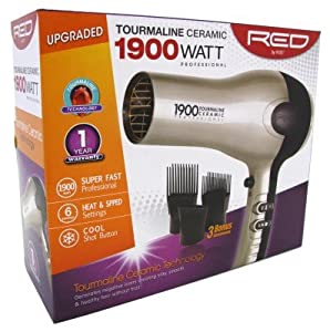 Kiss Red Dryer 1900 Watt W/3 Attachments (Tourm Ceramic)
