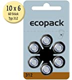 ECOPACK hearing aid accus HA312 60pcs