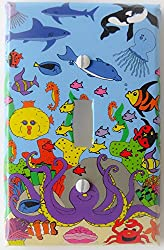 Under Sea Light Switch Plates with Dolphins, Whale, Sharks, Octopus, Coral, Jelly Fish and Clown Fish