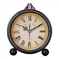 Kaimao Vintage Style Alarm Clock 5 (13cm) Silent Antique Retro Table Clock with Hanging Loop - Roman Numerals