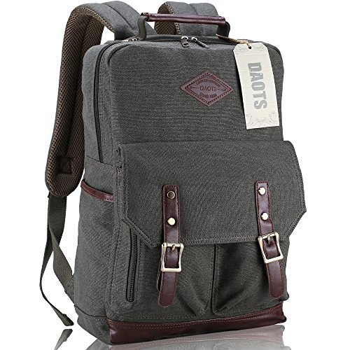 Great Deal! DAOTS Vintage Canvas Laptop Backpack Rucksack for College School Travel Daypack (1-Year ...