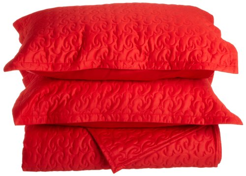 Tuscany Fine Italian Linens Egyptian Cotton Quilted Coverlet Set, King, Bright Red (Italian Bedspread compare prices)