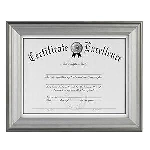 DAX Photo Frame, Easel Back, Desk/Wall, Wood, 8.5 x 11 Inches, Charcoal/Nickel-Tone (N15783NT)