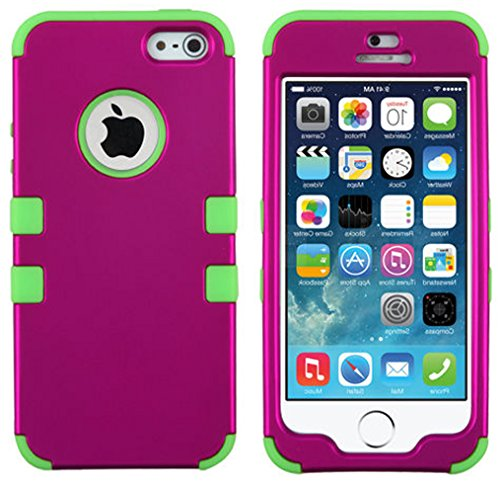 Mylife Bright Green And Magenta - Colorful Robot Series (Neo Hypergrip Flex Gel) 3 Piece Case For Iphone 5/5S (5G) 5Th Generation Smartphone By Apple (External 2 Piece Fitted On Hard Rubberized Plates + Internal Soft Silicone Easy Grip Bumper Gel)