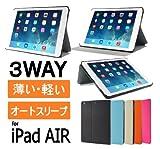 iPad Air 用 スリムケース ブラック & 液晶保護フィルム(光沢タイプ)つき オートスリープ機能 (Air,Slim,black)