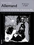 echange, troc Konstanze Troeger - Allemand, l'épreuve d'entrée à Sciences-Po : 42 épreuves corrigées