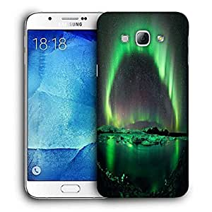 Snoogg Green Layered Island Printed Protective Phone Back Case Cover For Samsung Galaxy A8