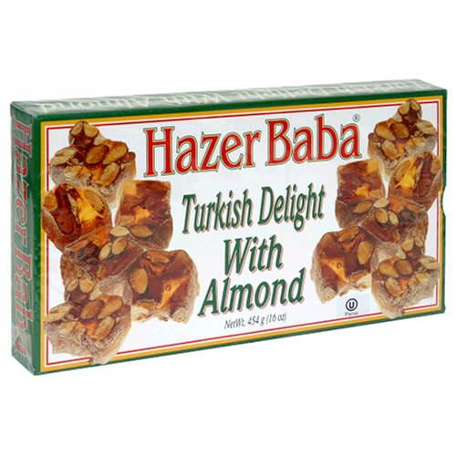Buy Hazer Baba Turkish Delight with Almond, 16-Ounce Boxes (Pack of 4) (Hazer Baba, Health & Personal Care, Products, Food & Snacks, Snacks Cookies & Candy, Candy)