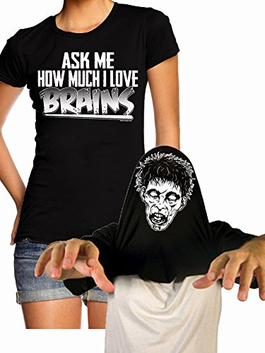 Juniors Ask Me How Much I Love Brains T-shirt Zombie Costume FlipUp Funny