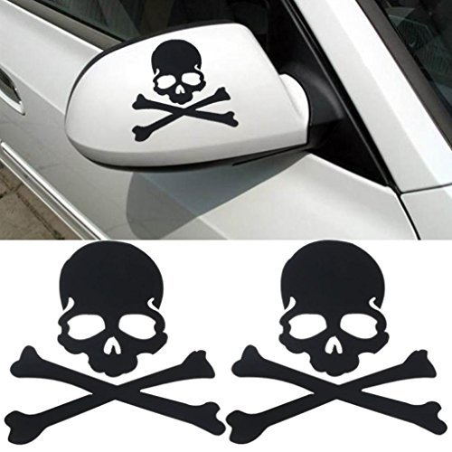 Welcomeuni DIY Car Sticker , Fashion Skull Design 3D Decoration Sticker For Car Side Mirror Rearview Black