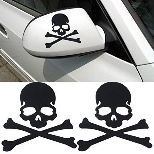 Welcomeuni DIY Car Sticker , Fashion Skull Design 3D Decoration Sticker For Car Side Mirror Rearview Black