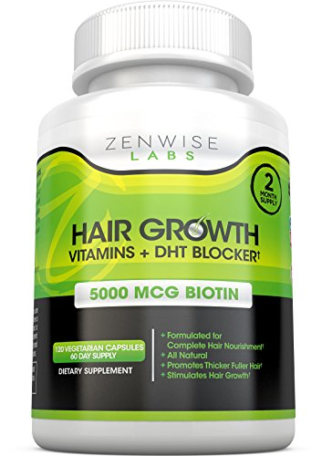 Hair Growth Vitamins Supplement - 5000mcg of Biotin & DHT Blocker for Hair Loss and Baldness - Contains Vitamins That Stimulate Hair Growth & Shine for Men and Women - 120 Pills for 2 Month Supply (Natural Nail Products compare prices)