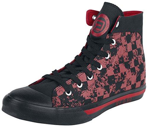 R.E.D. by EMP Checked Sneaker Scarpe nero/rosso EU41