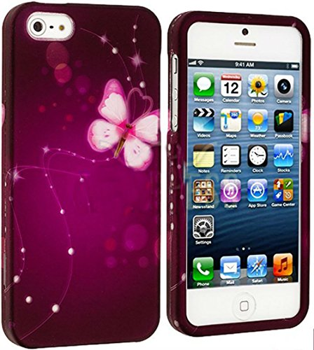Mylife Purple Butterfly And Sparkly Web Series (2 Piece Snap On) Hardshell Plates Case For The Iphone 5/5S (5G) 5Th Generation Touch Phone (Clip Fitted Front And Back Solid Cover Case + Rubberized Tough Armor Skin)
