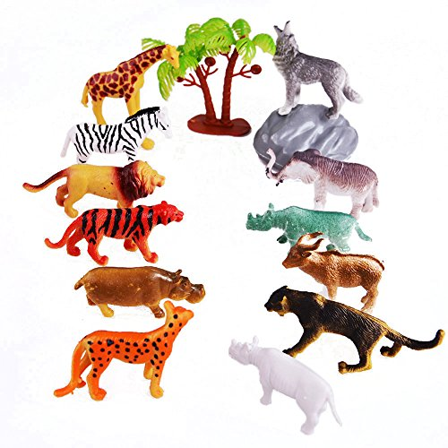 Acekid Mini Wild Forest Animal Figure Toys Animal Action Figure Set Kids Animal Toy Set of 12