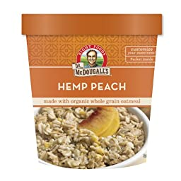 Dr. McDougall\'s Hemp Peach Oatmeal Cups Made With Organic Whole Grain Oatmeal 3-Ounce Cups (Pack of 6)