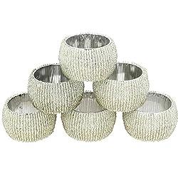 AsiaCraft Silver Beaded Napkin Rings - Set of 6 Rings