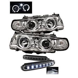 BMW E38 7-Series HID TYPE 1PC Halo Amber Chrome Projector Headlights