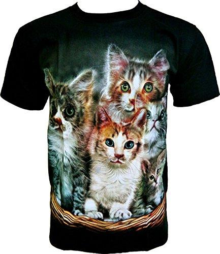 Rock Chang T-Shirt * Sweet Cats * Gattini Dolci * Uomo Nero R630 (XXL)