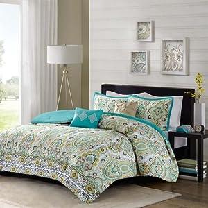 Intelligent Design Tasia 5 Piece Comforter Set Green Full/Queen