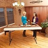 Lifetime 22920 Height Adjustable Folding Utility Table, 6 Feet, Almond