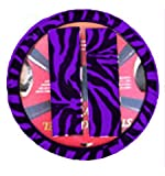 51FRT4pOC L. SL160  Animal Print Steering Wheel Cover and Shoulder Belt Pad   Zebra Purple
