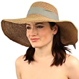 "Summer Vented Cute Ribbbon Bow Wide Brim 4-3/4"" Floppy Beach Sun Hat Natural"