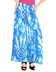 Fashion205 Blue And White Printed Cotton Satin Palazzo - B00VE3WTEC