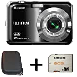 Fujifilm FinePix AX550 Black + 8GB Memory Card and Case (16MP, 5x Optical Zoom) 2.7 inch LCD