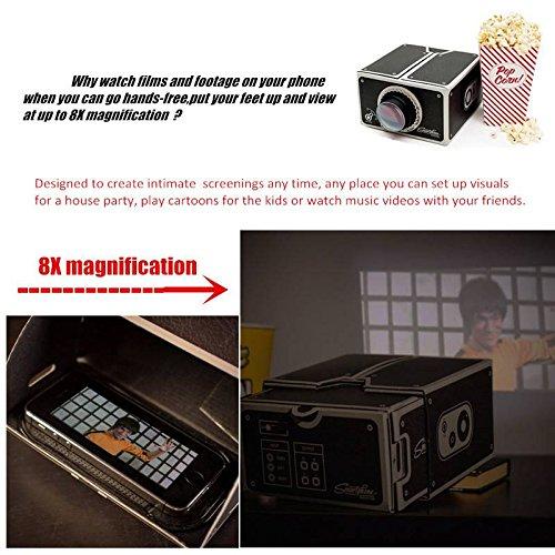 Elegiant 8x zoom portable diy cardboard cinema smartphone for Best portable projector for iphone 6