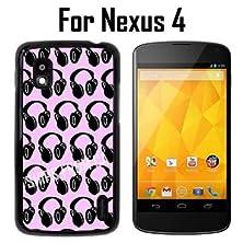 buy Headphones Dj Pattern Pink Custom Case/ Cover/Skin *New* Case For Nexus 4 - Black - Plastic Case (Ships From Ca) Custom Protective Case , Design Case-Att Verizon T-Mobile Sprint ,Friendly Packaging - Slim Case - Innosub®Case