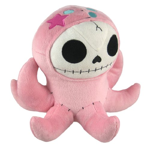 Furry Bones OCTOPEE Pink Plush Octopus 9 Inch Skull